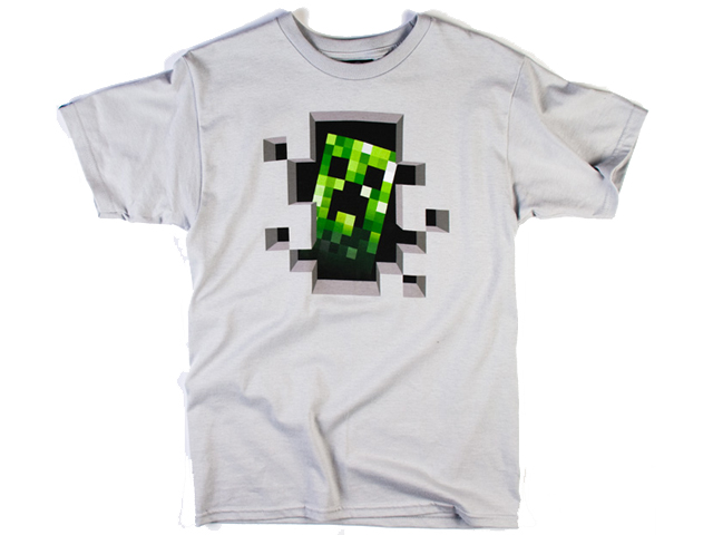 Minecraft Creeper Inside Tee - Silver(M-Size)
